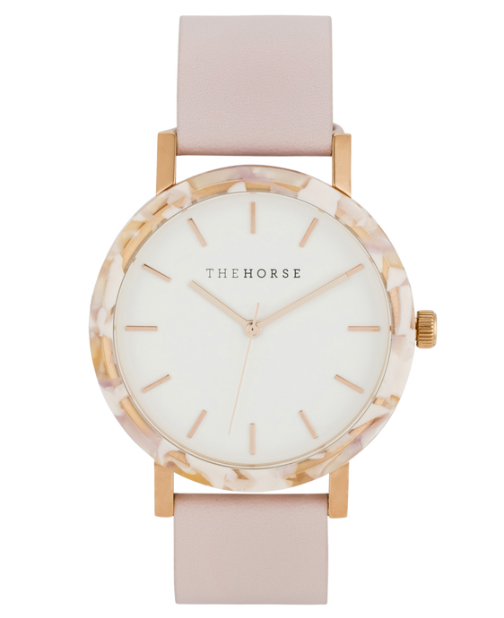 The Horse - The Resin: Pink Nougat Shell / White Dial / Baby Pink Leather