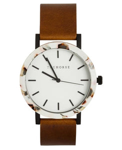 The Horse - The Resin Nougat Shell / White Dial / Tan Leather