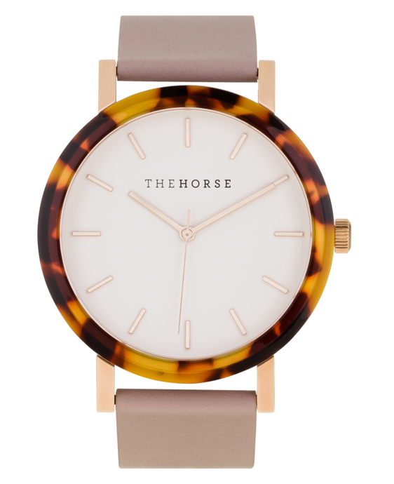 The Horse - The Resin Tortoise Shell Case / White Dial / Rose Gold Indexing / Blush Leather