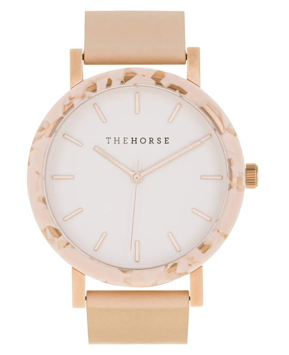 The Horse - The Resin Peach Speckle Case / White Dial / Rose Gold Indexing / Vegetable Tan Leather