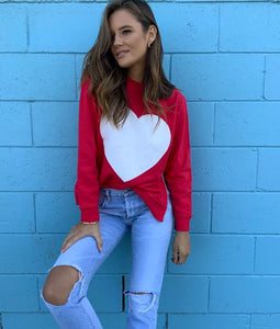 Sophie  Moran Red White Heart Sweater