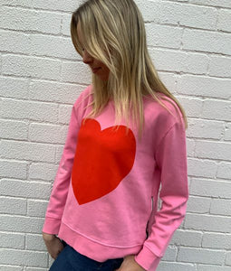 Sophie  Moran Winter Pink Red Heart Sweater