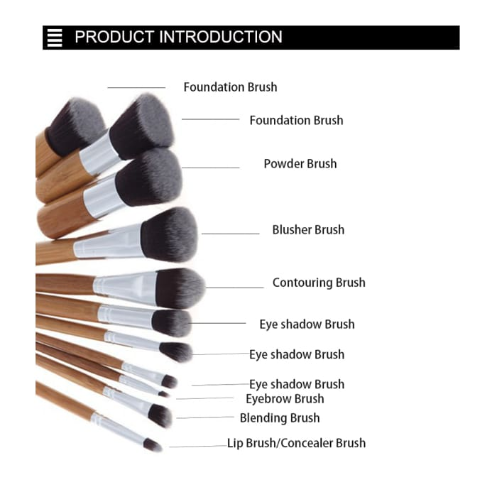 11 pcs/set Bamboo Handle Makeup Brushes - Health & Beauty Hair / Makeup / Makeup Brushes Footsylicious