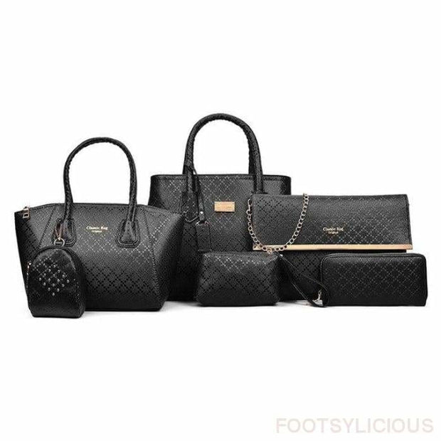 6 Piece Handbag Set - Black - Footsylicious