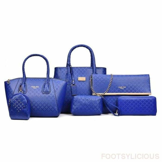 6 Piece Handbag Set - Blue - Footsylicious