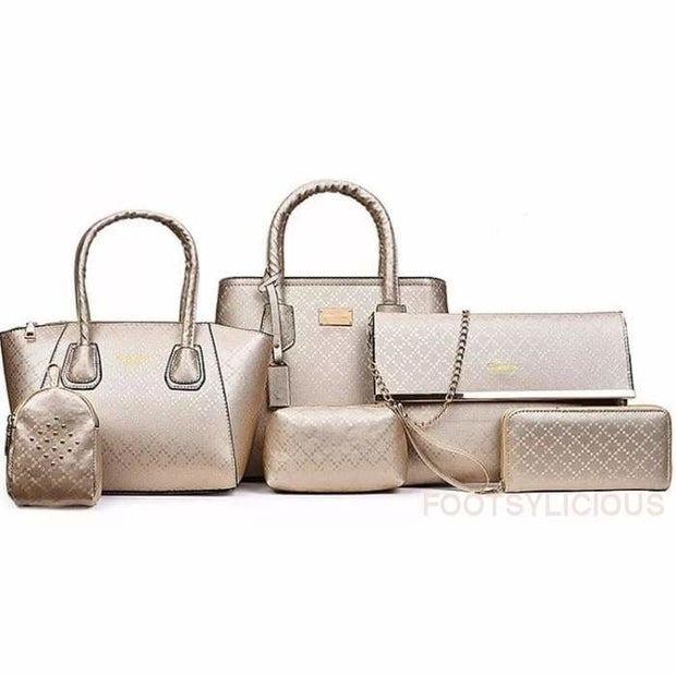 6 Piece Handbag Set - Gold - Footsylicious