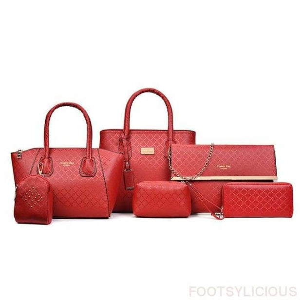 6 Piece Handbag Set - Red - Footsylicious