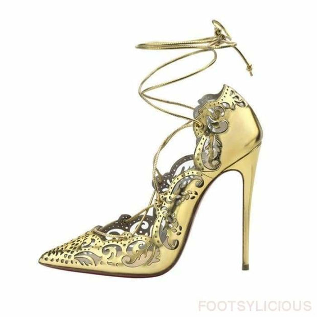Ada Cutout High Heel Pumps - Gold / UK3 - Shoes Footwear Footsylicious
