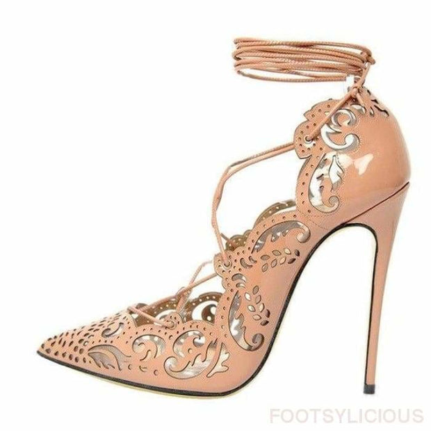 Ada Cutout High Heel Pumps - Peach / UK3 - Shoes Footwear Footsylicious