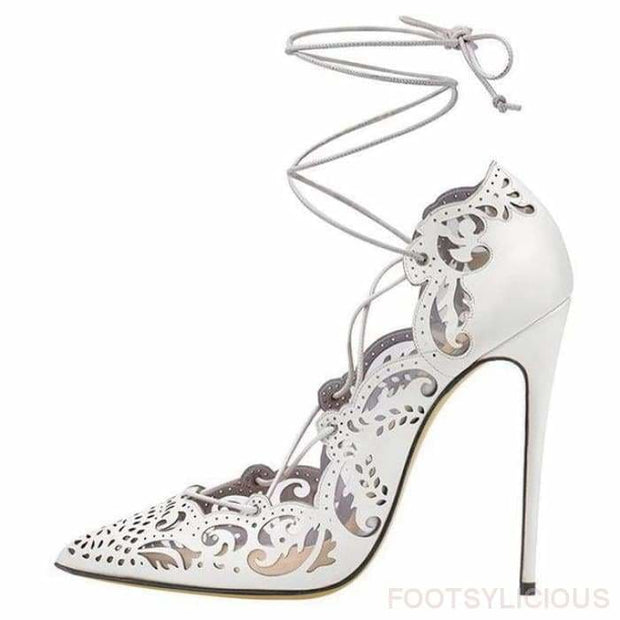 Ada Cutout High Heel Pumps - White / UK3 - Shoes Footwear Footsylicious