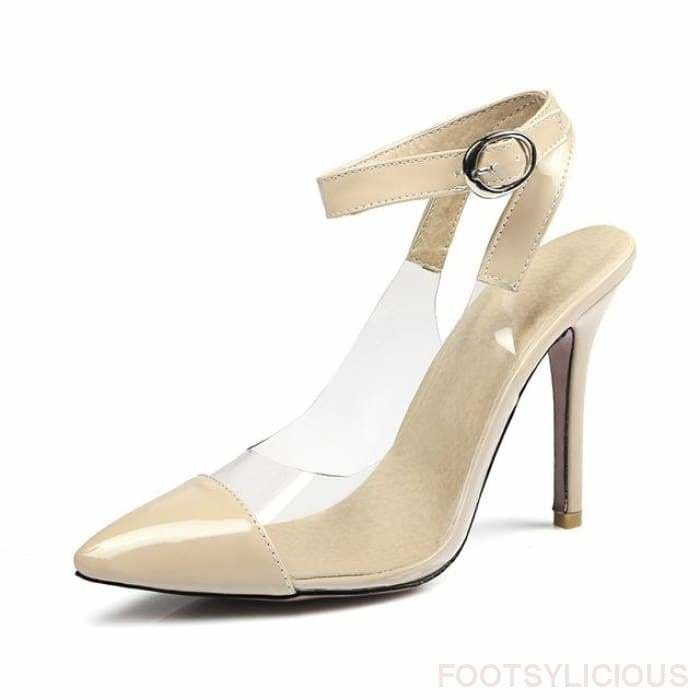 Alexis Pointed Toe Transparent Pumps - apricot / UK8 - Shoes Footsylicious