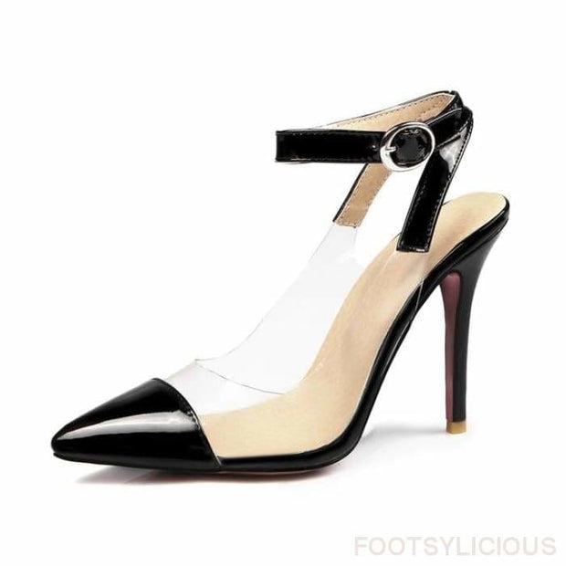 Alexis Pointed Toe Transparent Pumps - Black / UK8 - Shoes Footsylicious