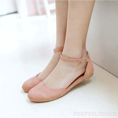 Ama Round Toe Flat Shoes - Pink / UK7.5 - Flat Shoes Footsylicious