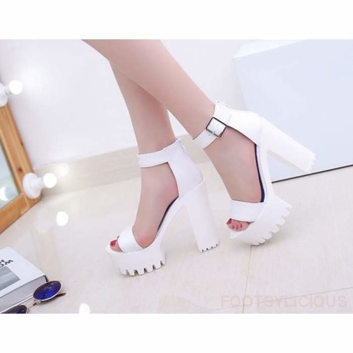 Amy Platform Sandals - white / UK3.5 - Sandals Footsylicious