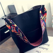 Art Strap Upright Solid Tote - Black - Handbag Footsylicious