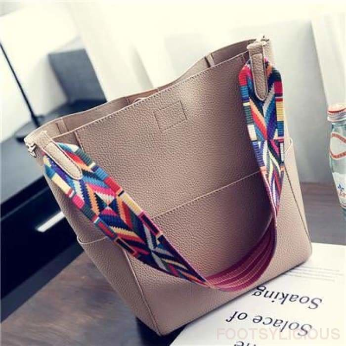 Art Strap Upright Solid Tote - Gold - Handbag Footsylicious