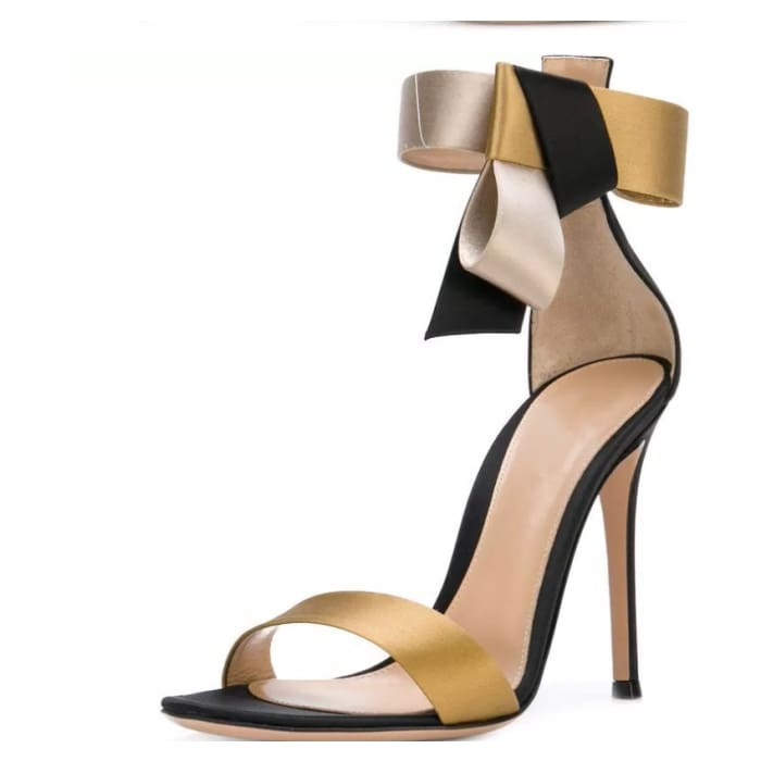 Black and Gold Ankle Strap High Heels - Shoes Footsylicious