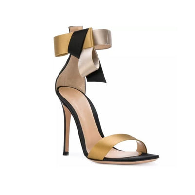 Black and Gold Ankle Strap High Heels - UK6.5 - Shoes Footsylicious