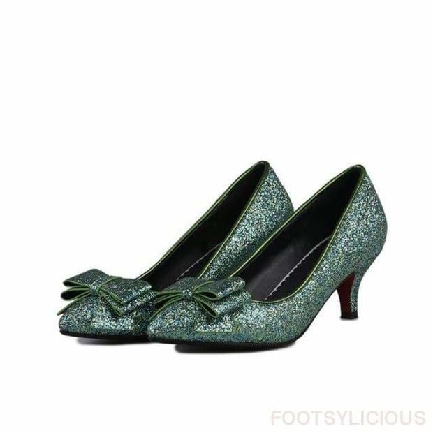 Bling High Heel Pumps - Green / UK3 - Shoes Footsylicious