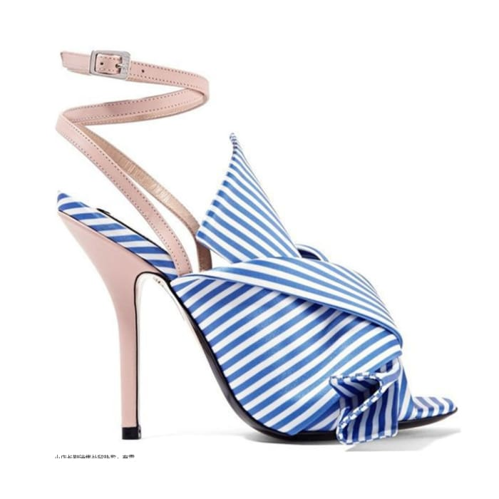 Blue Striped Bow High Heel Sandals - Shoes Footsylicious