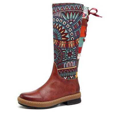 Bohemian Mid Calf Boots - Brown / UK6.5 - Shoes Footsylicious