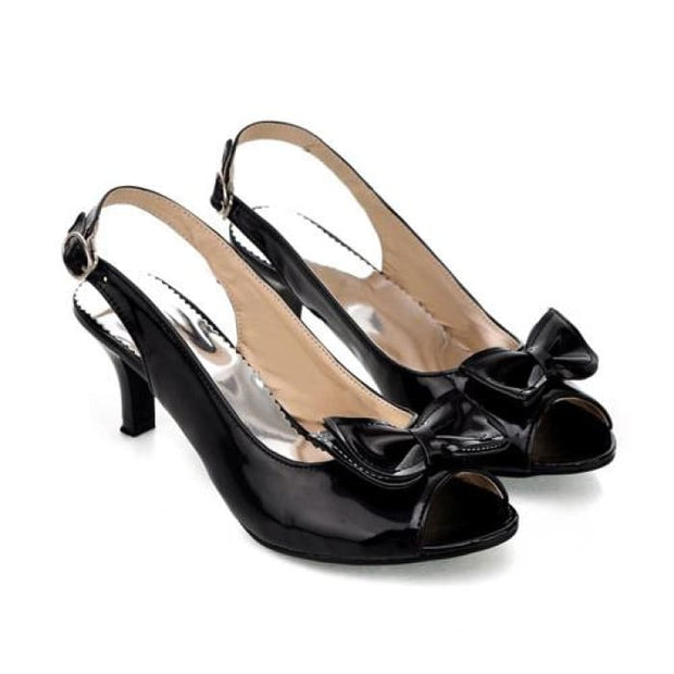 Bow Sling Back Peep Toe - Black / UK3.5 - Sandals Footsylicious