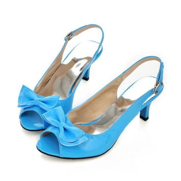 Bow Sling Back Peep Toe - Blue / UK3.5 - Sandals Footsylicious