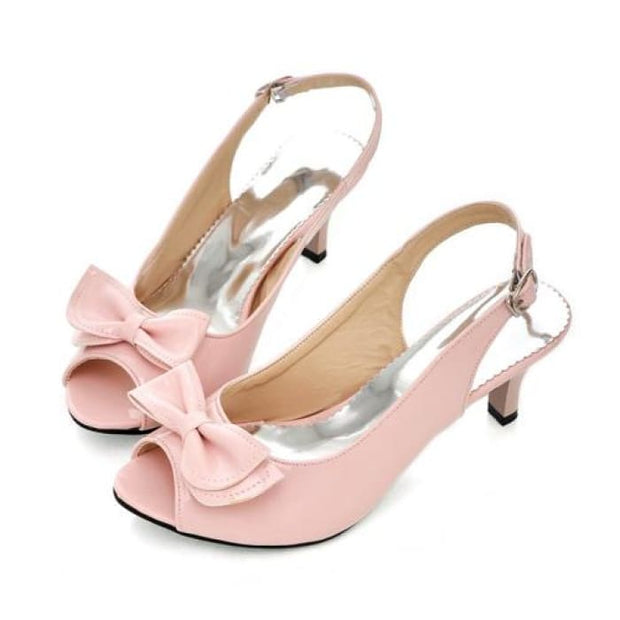 Bow Sling Back Peep Toe - Pink / UK3.5 - Sandals Footsylicious