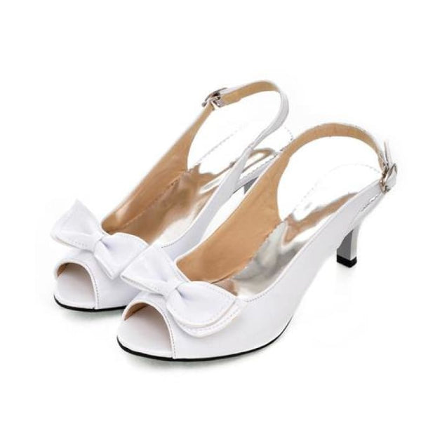 Bow Sling Back Peep Toe - White / UK3.5 - Sandals Footsylicious