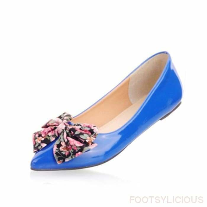 Butterfly-knot Ballet Flats - Blue / UK2.5 - Flat Shoes Footsylicious