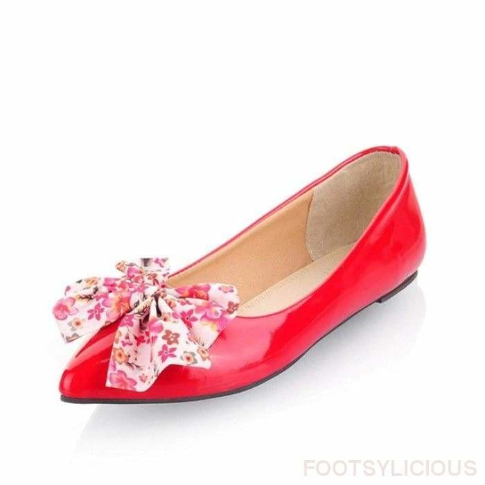 Butterfly-knot Ballet Flats - Red / UK2.5 - Flat Shoes Footsylicious