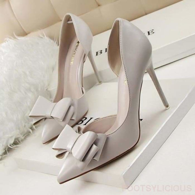 Candy Bowknot High Heel Pumps - Gray / UK4.5 - Shoes Footsylicious