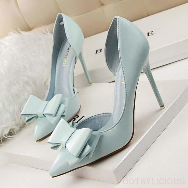 Candy Bowknot High Heel Pumps - Sky-Blue / UK4.5 - Shoes Footsylicious