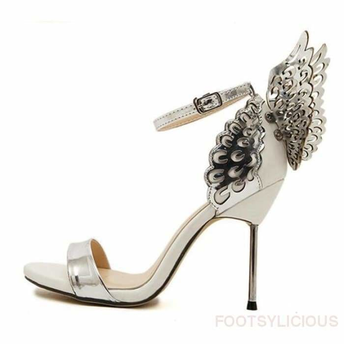 Carol Angel Wings Stiletto Sandals - Silver / UK3.5 - Sandals Footsylicious