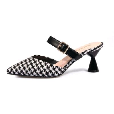 Check Print Slip On Mules - Black / UK4 - Shoes Footsylicious