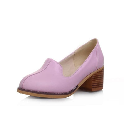 Chunky Heel Loafers - Purple / UK7.5 - Shoes Footsylicious