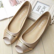 Cindy Peep Toe - Gold / UK3.5 - Flat Shoes Footsylicious