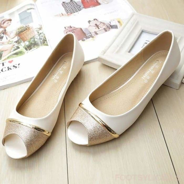 Cindy Peep Toe - White / UK3.5 - Flat Shoes Footsylicious
