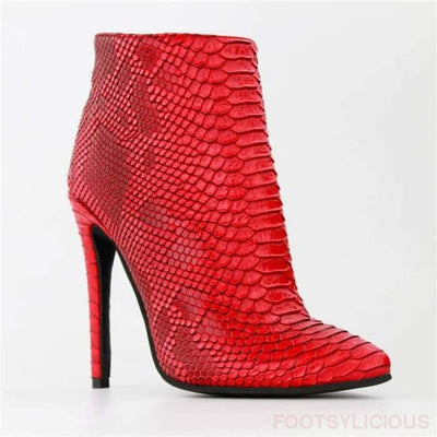 Claire Red Boots - Ankle Boots Footsylicious