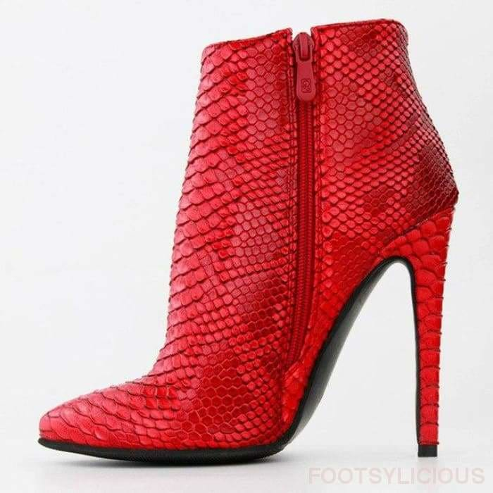 Claire Red Boots - Red / UK7 - Ankle Boots Footsylicious