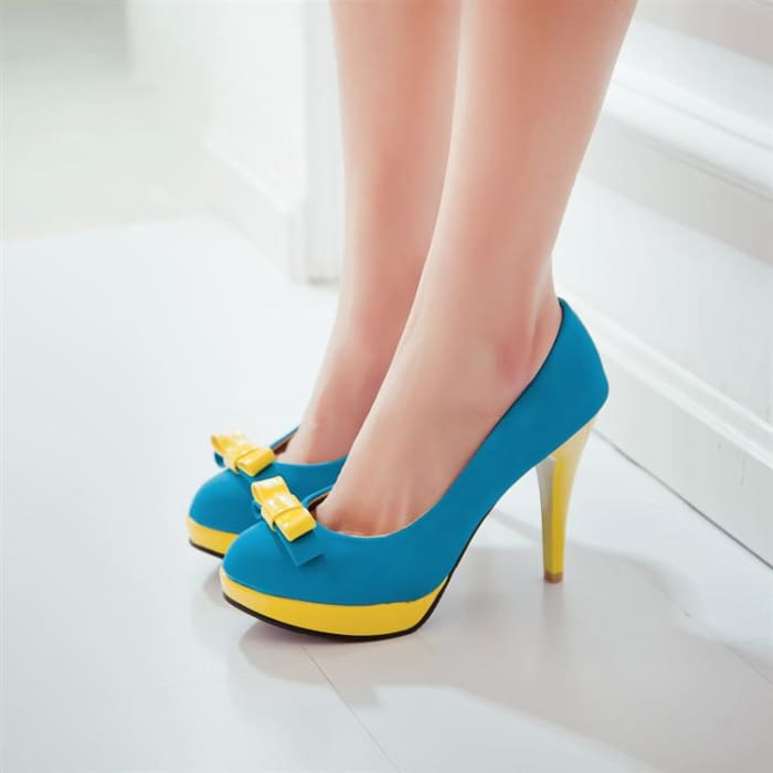 Colour Block High Heel Shoes - Blue / UK3.5 - Footsylicious