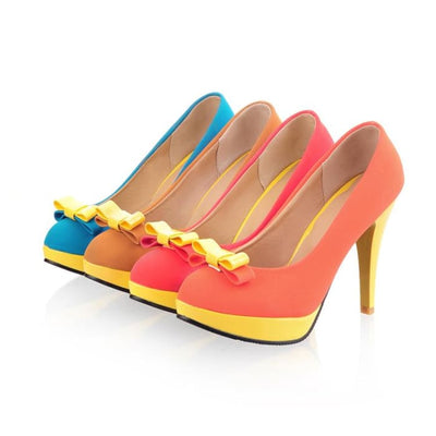 Colour Block High Heel Shoes - Red / UK7 - Footsylicious