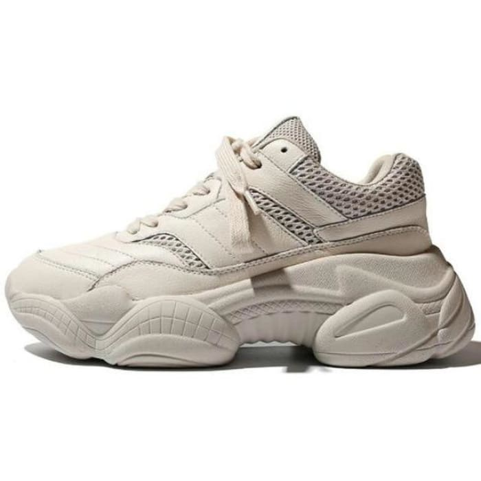 Comfortable Breathable Sneakers - Beige / UK3.5 - Sneakers Footsylicious