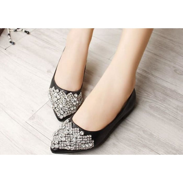 Comfortable Elegant Rhinestone Flats - Black / UK6 - Flat Shoes Footsylicious