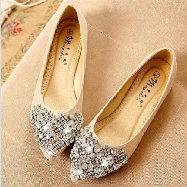 Comfortable Elegant Rhinestone Flats - Gold / UK7 - Flat Shoes Footsylicious