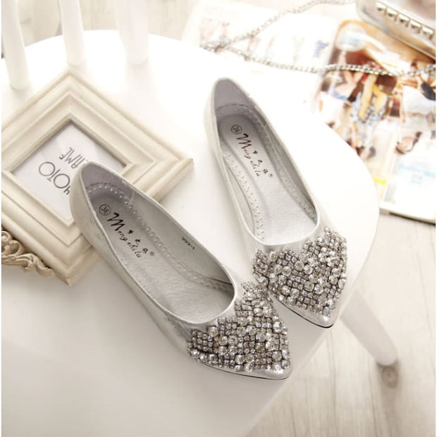 Comfortable Elegant Rhinestone Flats - Silver / UK4.5 - Flat Shoes Footsylicious