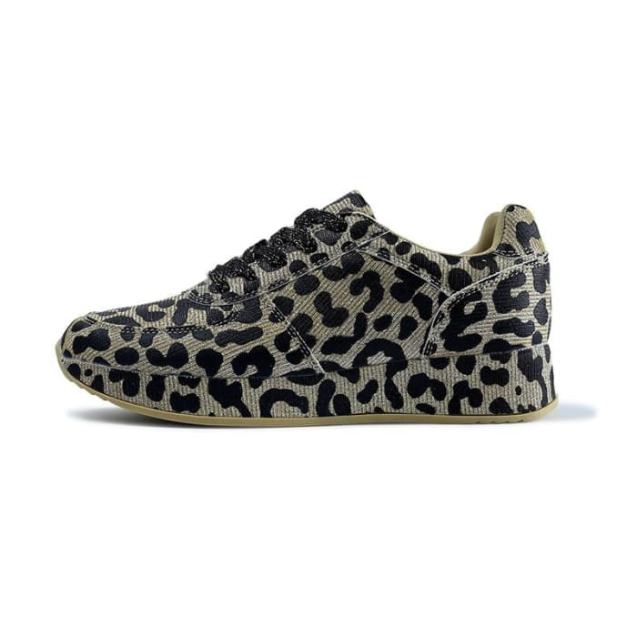 Comfortable Leopard Pattern Sneakers - Gold / UK4 - Sneakers Footsylicious