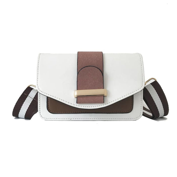 Contrast Colour Handbag - White A - Handbag Footsylicious