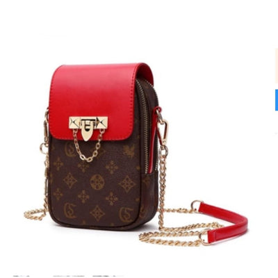 Cross Body Messenger Bag - Red / Chain - Handbag Footsylicious