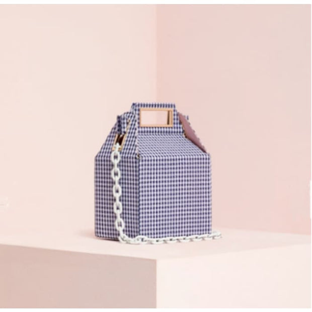 Cube Box Handbag - Blue Check - Handbag Footsylicious